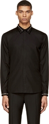 Givenchy Black Zipper Trim Button Up Shirt