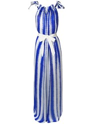 Maison Rabih Kayrouz Striped Tie Waist Maxi Dress Blue