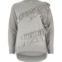 River Island Womens Grey Long Sleeved Frill Detail Sweatshirt
