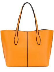 Tod's Joy Shopper Tote Calf Leather Yellow Orange