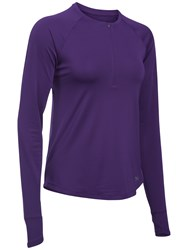 Under Armour Fly By Half Zip Long Sleeve Training T Shirt Purple