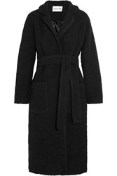 Ganni Fenn Wool Blend Boucle Coat Black