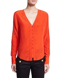 Veronica Beard Embroidered Long Sleeve Top Scarlet