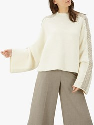 Jaeger Cable Knit Wool Jumper Ivory