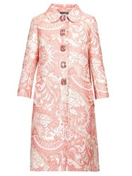 Dolce And Gabbana Crystal Button Brocade Coat Pink White