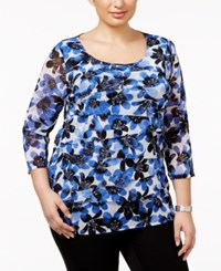 Alfani Plus Size Tiered Printed Mesh Top Only At Macy's Peaceful Garden