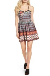 Band Of Gypsies Women's Fit And Flare Bustier Dress Ivory Rust