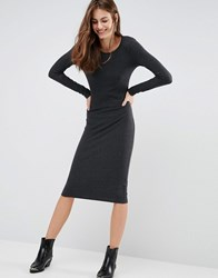 Brave Soul Bodycon Midi Dress Charcoal Grey
