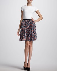 Jason Wu Pleated Floral Print Skirt Navy Coral