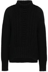 Duffy Woman Cable Knit Wool And Cashmere Turtleneck Sweater Black