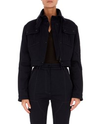 Atlein Cropped Patch Pocket Jacket Navy