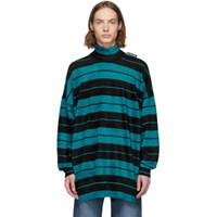 Balenciaga Black And Blue Striped Turtleneck