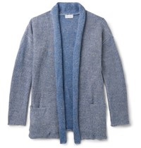 John Elliott Shawl Collar Melange Linen And Cotton Blend Cardigan Blue