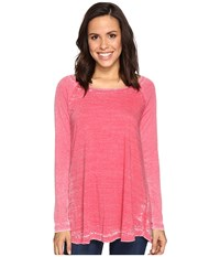 Allen Allen Raglan Tunic With Ribbed Sleeves Modern Red Women's Blouse