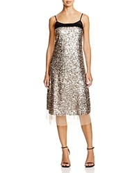 Dkny Mesh Trimmed Sequin Dress Bloomingdale's Exclusive