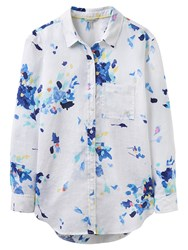 Joules Jeanne Linen Shirt Bright White Floral