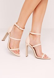 Missguided Pointed Toe Three Strap Barley There Sandals Nude Beige