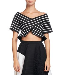 Proenza Schouler Striped Jacquard Off Shoulder Crop Top Black White Black White
