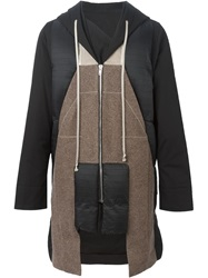 Rick Owens Feather Down Panelled Coat Black