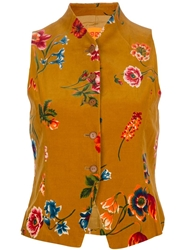 Kenzo Vintage Floral Print Waistcoat Yellow And Orange
