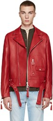 Off White Red Leather New Pocket Jacket