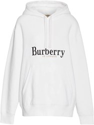 Burberry Embroidered Logo Jersey Hoodie White