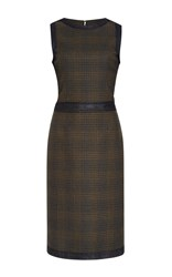Carolina Herrera Sleeveless Checkered Pencil Dress Brown