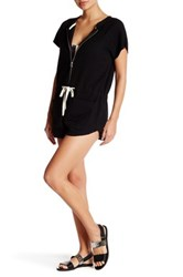 Solid And Striped Zip Short Sleeve Romper Black
