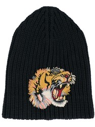 Gucci Tiger Patch Beanie Hat Blue
