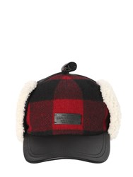 Dsquared Check Wool And Leather Hat W Shearling