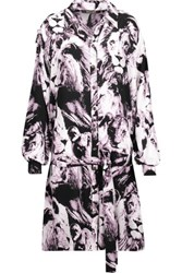 Roberto Cavalli Belted Printed Silk Mini Dress Black