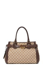 Wgaca Gucci Canvas Running Tote Previously Owned Brown