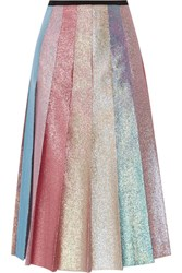 Gucci Pleated Lame Midi Skirt Pastel Pink