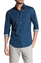 Original Penguin Long Sleeve Print Slim Fit Shirt Blue