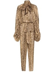 Zimmermann Pussy Bow Animal Print Jumpsuit Neutrals