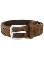 Tod's Woven Buckle Belt Suede Polyester Brown