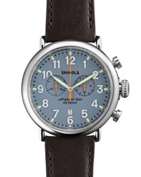 47Mm Runwell Chrono Watch Dark Brown Blue Shinola Silver