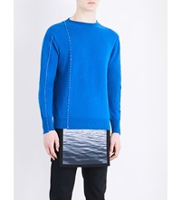 Raf Simons Stitched Detail Knitted Wool Jumper Blue