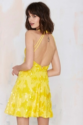 Nasty Gal Dress The Population Anni Sequin Dress Yellow