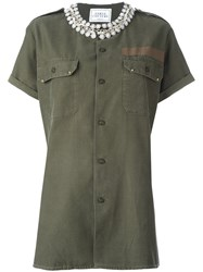 Forte Couture Embellished Military Shirt Green