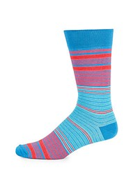 Saks Fifth Avenue Made In Italy Striped Multi Hued Socks Light Blue