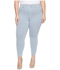 Hue Plus Size Gingham Denim Skimmer Chambray Women's Jeans White