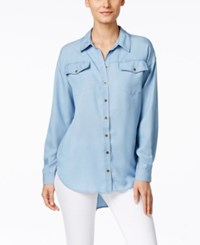 G.H. Bass And Co. Chambray Button Front Tunic Shirt
