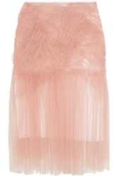 Burberry Ruched Tulle Midi Skirt