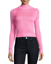 John And Jenn Funnel Neck Cropped Sweater Hot Pink