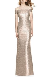 Dessy Collection Women's Sequin Off The Shoulder Gown Rose Gold