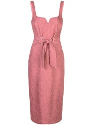 Rebecca Vallance Tie Waist Textured Dress Pink