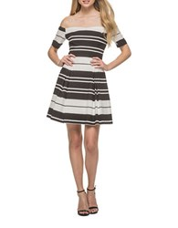 Guess Two Tone Fit And Flare Dress Black White