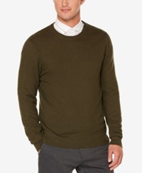 Perry Ellis Men's Multi Directional Knit Sweater Forest Pine