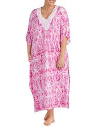 Ellen Tracy Printed Lace Caftan White Pink